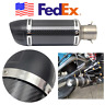 Universal Gloss Carbon Fiber Mini Motorcycle Muffler Exhaust Pipe + Silencer USA