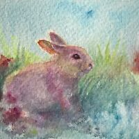 ACEO Originalpainting rabbit bunny Pet watercolor art artwork listed by artist