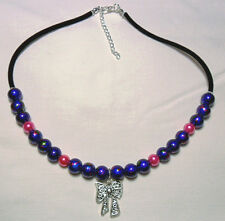"Necklace, blue + pink glass pearls + bow 17""-19"""