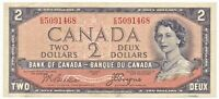 Canada Two Dollar Bank Note Devil's Face 1954 Queen Elizabeth II As Pictured