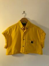 VINTAGE 90S VERSACE JEANS YELLOW REWORKED OVERSIZED CROPPED SHIRT SIZE L 8-10-12