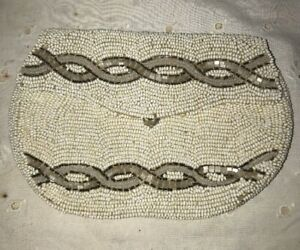 Vtg Antique Seed Beaded White Iridescent Belt Finger Loop Coin Purse VICTORIAN