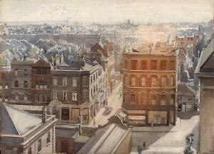 EILEEN CHANDLER Painting VIEW FROM STUDIO KENSINGTON CHURCH STREET LONDON c1947