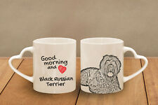 "Black Russian Terrier - ceramic cup, mug ""Good morning and love, heart"", Usa"