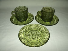 Vintage Rose Pattern Olive Green Glass 2 Cups and 3 Saucers