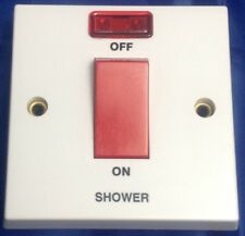 45 Amp Double Pole Wall Switch With Red Neon 1 Gang Marked Shower DP Volex