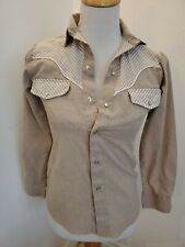 Vintage western long sleeve W-Small shirt w/ piping snap Kids Kountry tan white