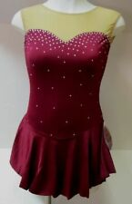 COMPETITION ICE FIGURE SKATING DRESS Burgundy Sweetheart Crystals Adult L NWT