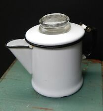 Vintage White Enamel Coffee Pot Small Glass Pyrex Top Stove Camping decor prop
