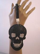 Schlüsselanhänger Taschen Anhänger XL Strass Skull Totenkopf Kunstleder S331