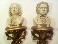 Lot of 2 Vintage 1973 Burwood Homco Bust Wall Decor Composers Beethoven & Bach