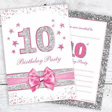 10th Birthday Party Invites - Pink with photo effect glitter - A6 Size (Pack 10)