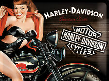 NOSTALGIC tipo Harley-Davidson Pin Up American Classic SCUDO IN LAMIERA 30 x 40 cm