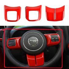 Inner Car Red Steering Wheel Cover Sequins Trim For Jeep Wrangler JK 2011-2017