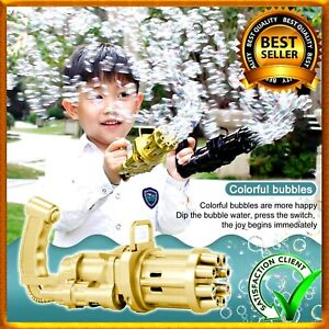 Bubble Machine Bubbler Maker Safe Summer Cooling Fan Gun For Kid Outdoor Gold