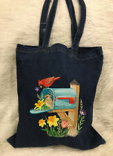 Large Embroidered Cardinal Birds Flowers Navy Denim Jean Tote Book Shopping Bag