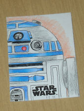 2017 Topps Star Wars Last Jedi sketch card 1/1 Logan Monette COLOR R2-D2