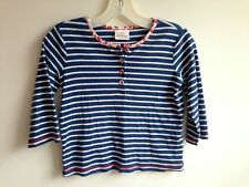 Hanna Andersson Knit Henley Top Shirt Blue & White Stripes 3/4 Sleeve Size 130