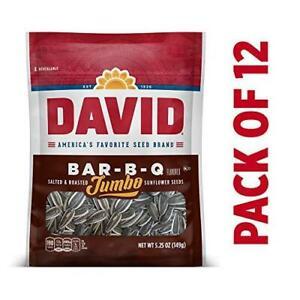 DAVID Roasted and Salted Bar-B-Q Jumbo Sunflower Seeds, 5.25 oz, 12 Pack
