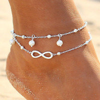 Silver Infinity Ankle Bracelet Women Anklet Adjustable Chain Foot Beach Jewelry