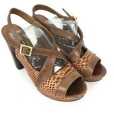 66378c04b TORY BURCH Women Sandals Sz 10 Brown Leather Faux Snake Skin High Heel Peep  Toe