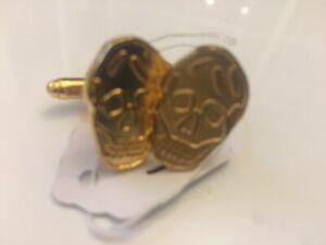 Alexander McQueen Cufflinks - BNWT Engraved Gunmetal  gold -Tone Metal Skulls