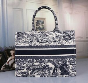 Embroidered Deluxe Book Tote Bag in Blue/White Size Medium/Large