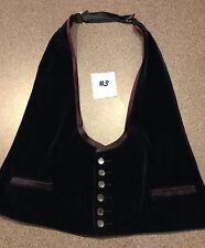 Navy Blue Velvet vest - damaged - vintage - 70s - one size fits most