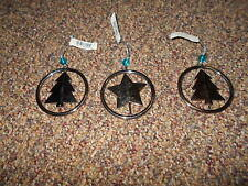 3 Silvertoned Metal Christmas Ornaments-Swivel Action/Turq Bead-2 trees Nwts