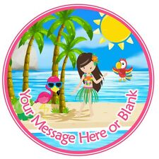 ND3  Luau Hawaiian Tropical personalised round cake topper icing