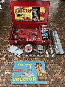 Vintage Erector set No. 6 1/2  in original metal case Working Motor