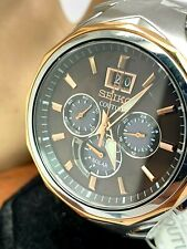 Seiko Coutura Solar Men's Chronograph Two Tone Stainless Steel Watch SSC628