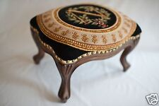 Medieval Louis XV Style Hand Carved French Footstool/ Ottoman - Blue Napoleon