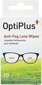 OptiPlus Anti-Fog Lens Wipes Cleaner Travel Purse Healthcare Sports Goggles 30ct