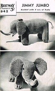 Jimmy Jumbo Elephant toy  knitting pattern. Laminated copy.