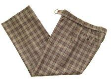 JOHN VARVATOS PANTS WOOL CHECKERED MATCHING BELT MADE IN ITALY SIZE 48 33/28 1/2