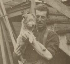 Vintage Cute Dog Lover Man Scottish Irish Terrier? Vernacular Photography Photo