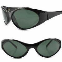 Genuine Vintage Classic Old Stock Green Lens Black Wrap Around Oval Sunglasses