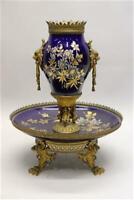 Rare Antique Sarreguemines pottery bronze lions Dragons gothic centerpiece vase