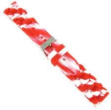 20mm Trendy Candy Cane White Red Rubber Silicone Waterproof Watch Band Strap