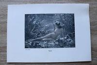 Jugendstil Kunst Blatt 1905 Erotik Frau NAJADE Akt Nude Erotic Risque nackt Art