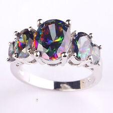 Rainbow Pink Blue Green Topaz Amethyst Tourmaline Silver Ring Size 6 7 8 9 10