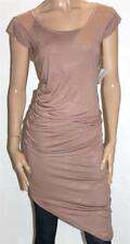 ASOS Designer Brown Ruched Bodycon Asymmetrical Hem Dress Size 10 BNWT [sb32]