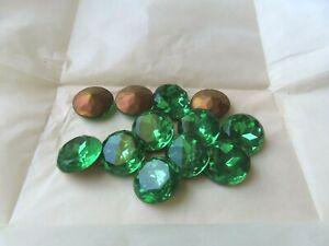 Full pack of 12 round Czech. glass rhinestones in 20mm Peridot/foiled. ttc