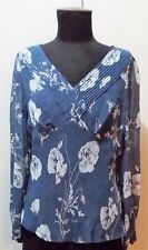 Immaculate Size 8 Ann Taylor Petites Grey Floral Silk Women's Blouse- 50cm Bust