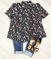 Ann Harvey Floral Blouse Top Black ladies Mix Sz 20 Short Sleeve Summer Collar