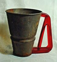 Intriguing Early Flour Sifter-Tin With Red Plastic Handle-Very Unique