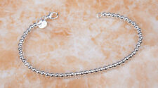 """Ladies 925 Sterling Silver 3mm Small Ball Bead Chain 7.75"""" Bracelet Jewelry H926"""