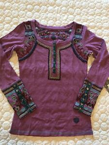 DOUBLE D RANCH WEAR EMBROIDERED KNIT SHIRT LONG SLEEVE NWT