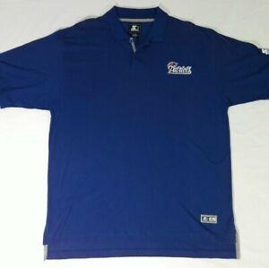 New England Patriots Starter Brand Solid Blue Polo Golf Shirt Mens XL 1990s Sewn